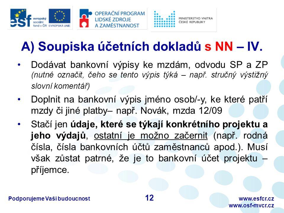 Podporujeme Vaši budoucnostwww.esfcr.cz www.osf-mvcr.cz A) Soupiska účetních dokladů s NN – IV.