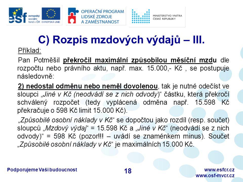 Podporujeme Vaši budoucnostwww.esfcr.cz www.osf-mvcr.cz C) Rozpis mzdových výdajů – III. Příklad: Pan Potměšil překročil maximální způsobilou měsíční