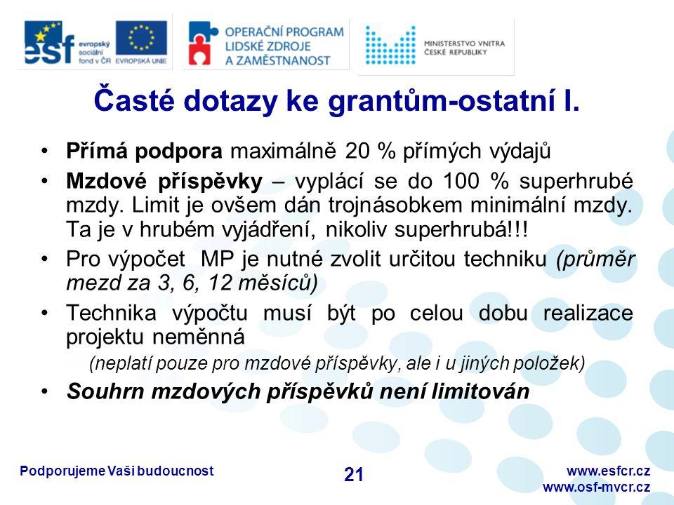 Podporujeme Vaši budoucnostwww.esfcr.cz www.osf-mvcr.cz Časté dotazy ke grantům-ostatní I. Přímá podpora maximálně 20 % přímých výdajů Mzdové příspěvk