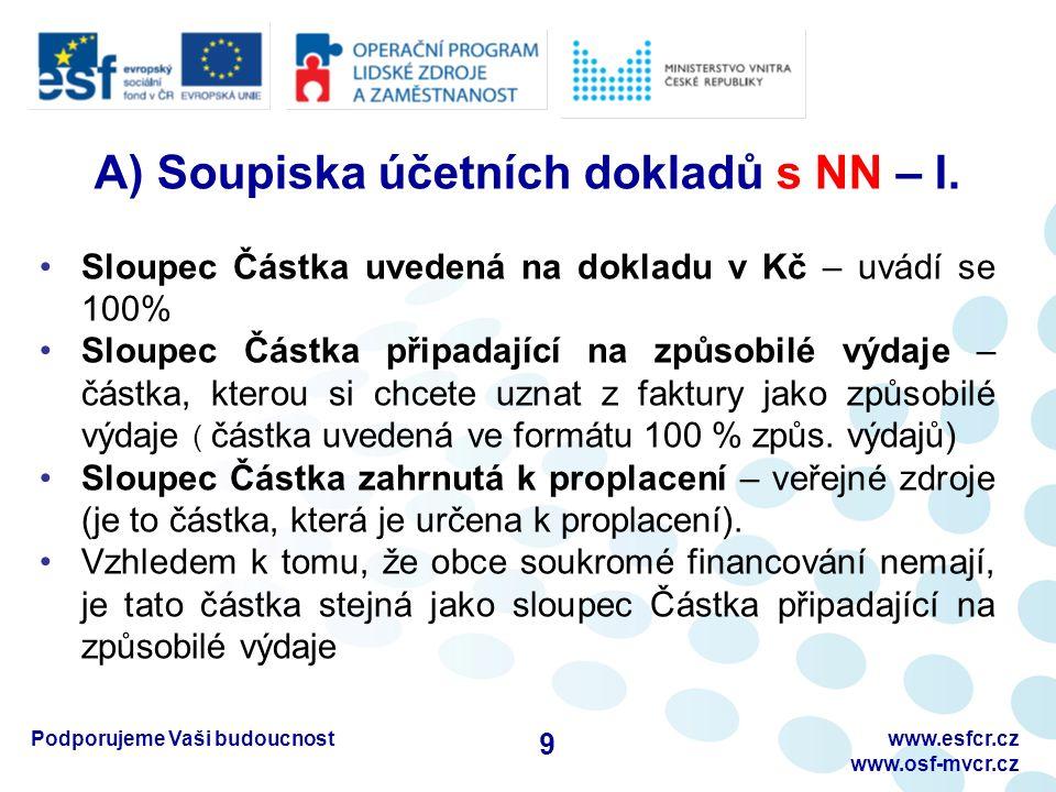 Podporujeme Vaši budoucnostwww.esfcr.cz www.osf-mvcr.cz A) Soupiska účetních dokladů s NN – I. Sloupec Částka uvedená na dokladu v Kč – uvádí se 100%