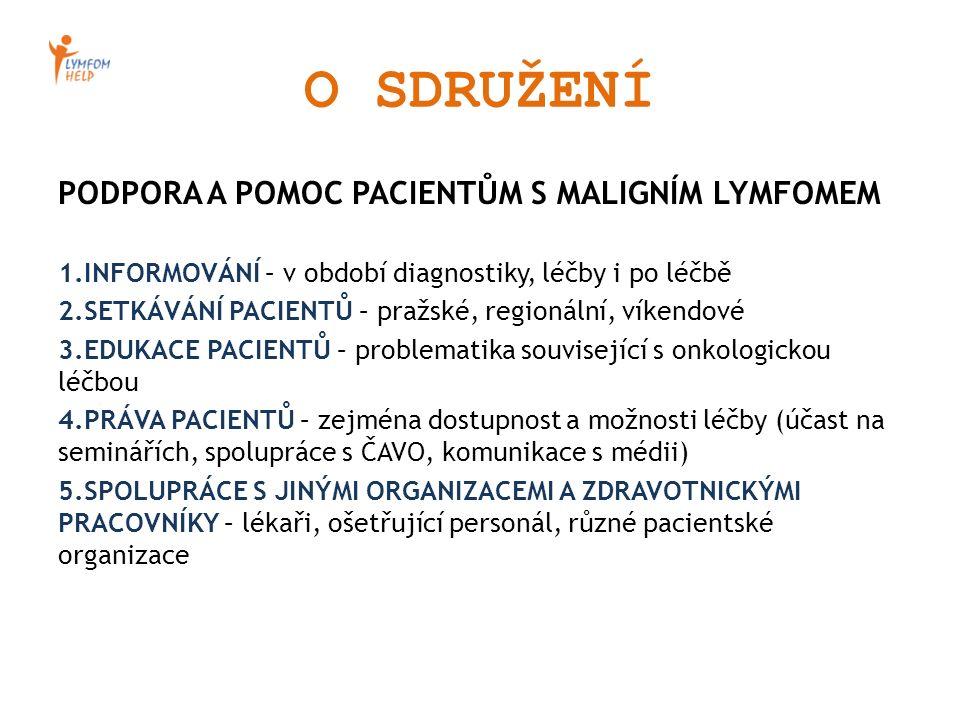 O SDRUŽENÍ PODPORA A POMOC PACIENTŮM S MALIGNÍM LYMFOMEM 1.INFORMOVÁNÍ – v období diagnostiky, léčby i po léčbě 2.SETKÁVÁNÍ PACIENTŮ – pražské, region