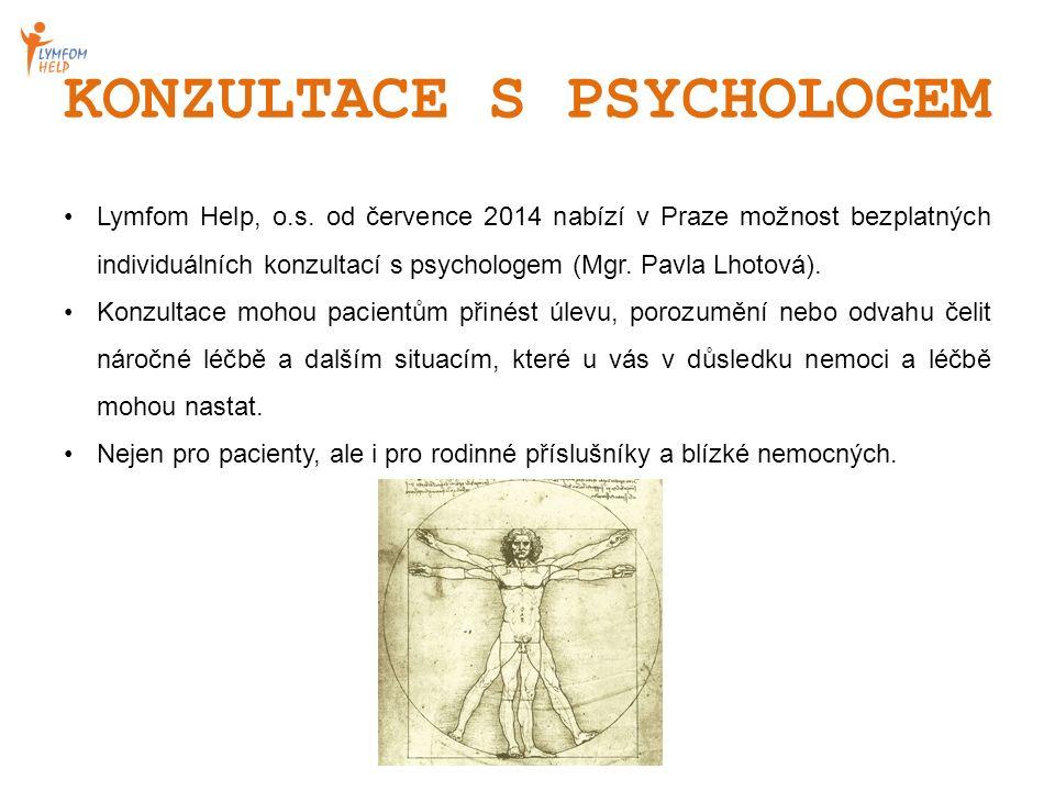 KONZULTACE S PSYCHOLOGEM Lymfom Help, o.s. od července 2014 nabízí v Praze možnost bezplatných individuálních konzultací s psychologem (Mgr. Pavla Lho