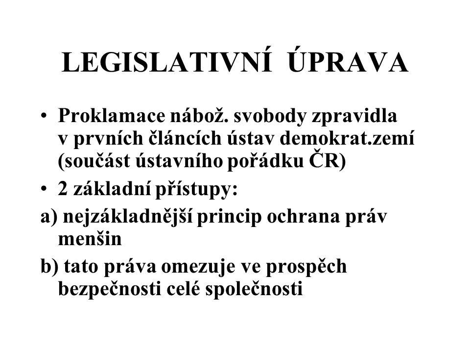 LEGISLATIVNÍ ÚPRAVA Proklamace nábož. svobody zpravidla v prvních článcích ústav demokrat.zemí (součást ústavního pořádku ČR) 2 základní přístupy: a)