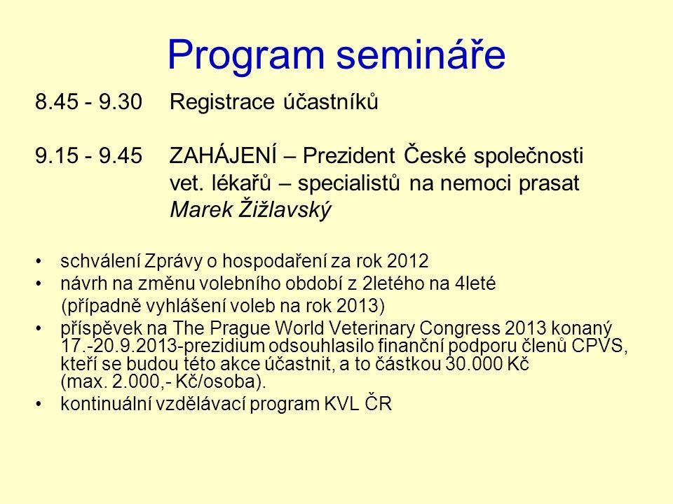 Program semináře 8.45 - 9.30Registrace účastníků 9.15 - 9.45ZAHÁJENÍ – Prezident České společnosti vet.