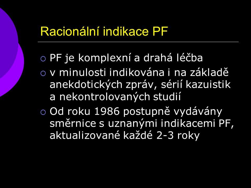 Racionální indikace PF  PF je komplexní a drahá léčba  v minulosti indikována i na základě anekdotických zpráv, sérií kazuistik a nekontrolovaných studií  Od roku 1986 postupně vydávány směrnice s uznanými indikacemi PF, aktualizované každé 2-3 roky
