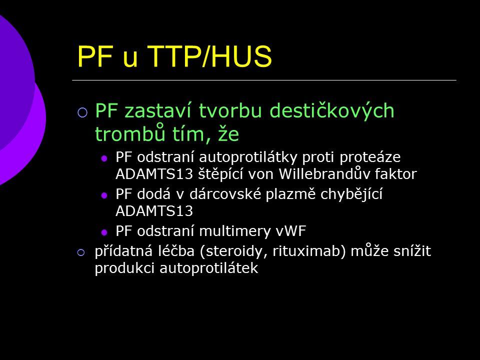 PF u TTP/HUS  PF zastaví tvorbu destičkových trombů tím, že PF odstraní autoprotilátky proti proteáze ADAMTS13 štěpící von Willebrandův faktor PF dodá v dárcovské plazmě chybějící ADAMTS13 PF odstraní multimery vWF  přídatná léčba (steroidy, rituximab) může snížit produkci autoprotilátek