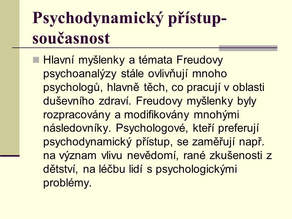 Psychodynamický přístup- současnost Hlavní myšlenky a témata Freudovy psychoanalýzy stále ovlivňují mnoho psychologů, hlavně těch, co pracují v oblasti duševního zdraví.