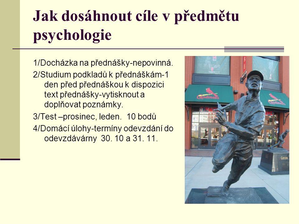 Jak dosáhnout cíle v předmětu psychologie 1/Docházka na přednášky-nepovinná.