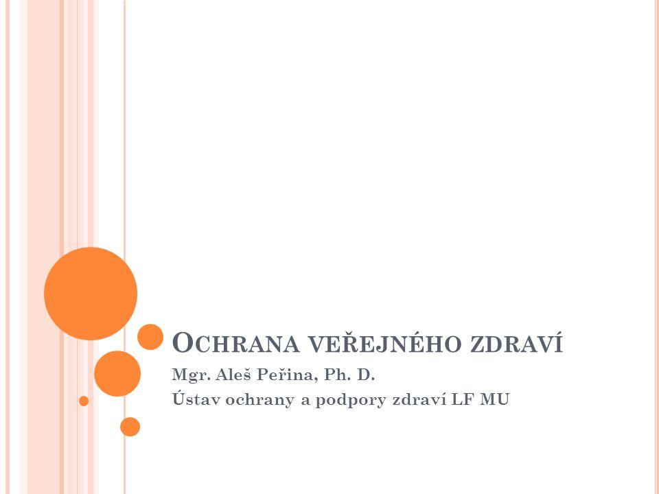 O CHRANA VEŘEJNÉHO ZDRAVÍ Mgr. Aleš Peřina, Ph. D. Ústav ochrany a podpory zdraví LF MU