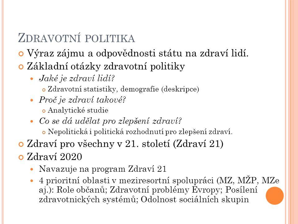 Z DRAVOTNÍ POLITIKA Výraz zájmu a odpovědnosti státu na zdraví lidí.