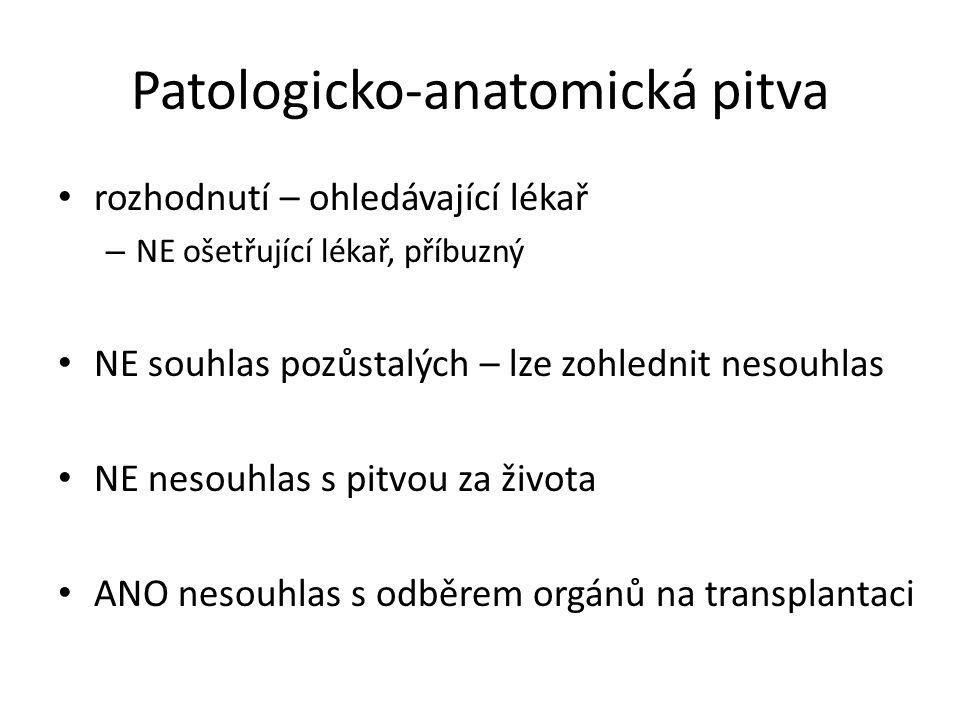 Patologicko-anatomická pitva rozhodnutí – ohledávající lékař – NE ošetřující lékař, příbuzný NE souhlas pozůstalých – lze zohlednit nesouhlas NE nesouhlas s pitvou za života ANO nesouhlas s odběrem orgánů na transplantaci