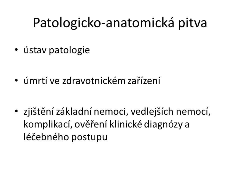 Patologicko-anatomická pitva ústav patologie úmrtí ve zdravotnickém zařízení zjištění základní nemoci, vedlejších nemocí, komplikací, ověření klinické diagnózy a léčebného postupu