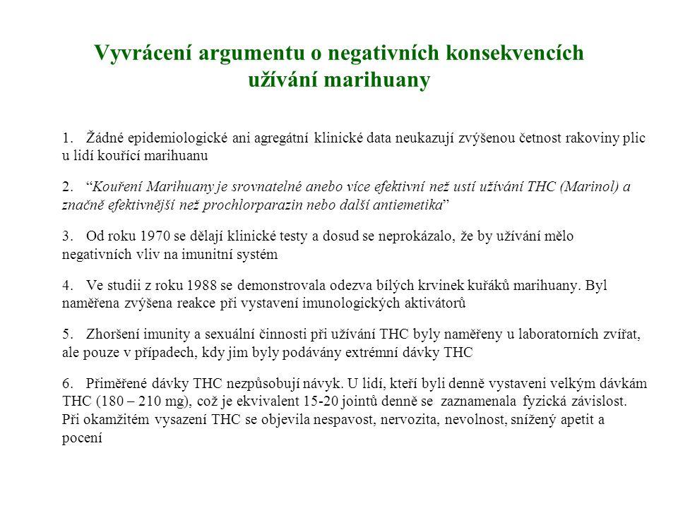 Vyvrácení argumentu o negativních konsekvencích užívání marihuany 1.