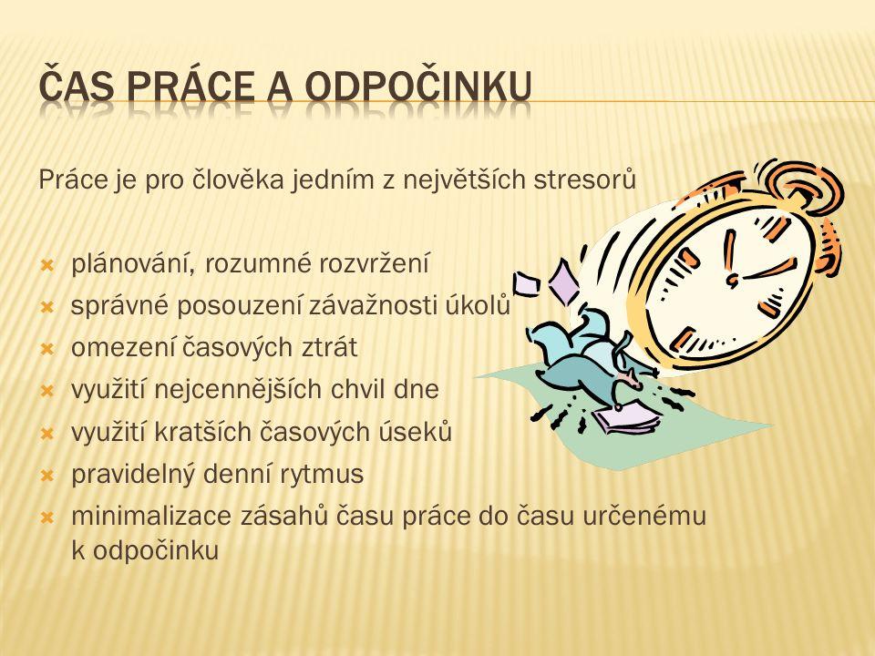 Práce je pro člověka jedním z největších stresorů  plánování, rozumné rozvržení  správné posouzení závažnosti úkolů  omezení časových ztrát  využití nejcennějších chvil dne  využití kratších časových úseků  pravidelný denní rytmus  minimalizace zásahů času práce do času určenému k odpočinku