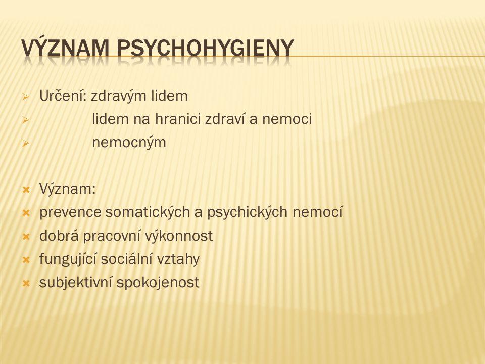  Určení: zdravým lidem  lidem na hranici zdraví a nemoci  nemocným  Význam:  prevence somatických a psychických nemocí  dobrá pracovní výkonnost  fungující sociální vztahy  subjektivní spokojenost