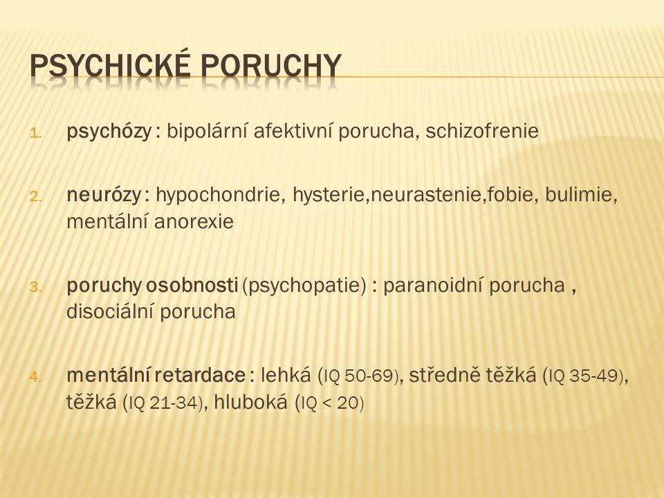 1.psychózy : bipolární afektivní porucha, schizofrenie 2.