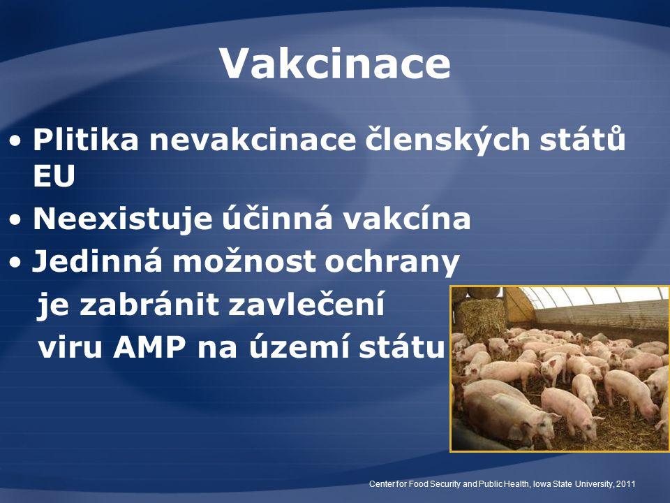 Vakcinace Plitika nevakcinace členských států EU Neexistuje účinná vakcína Jedinná možnost ochrany je zabránit zavlečení viru AMP na území státu Center for Food Security and Public Health, Iowa State University, 2011