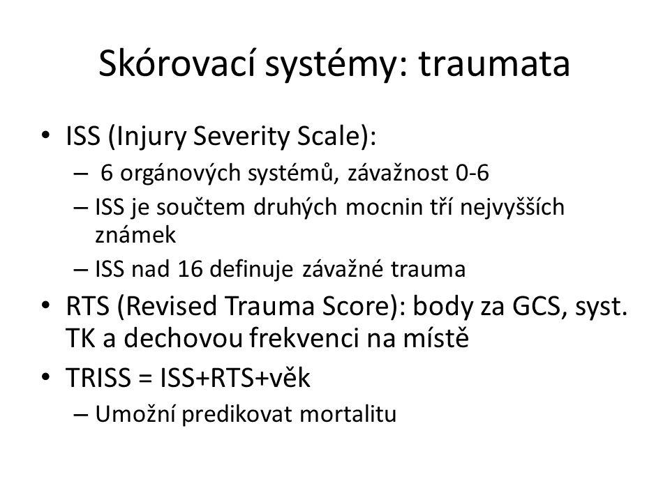 Skórovací systémy: TISS Terapeutic Intervention Scoring Systém Ošetřovatelská náročnost pacienta – 1 bod: monitorace EKG, SpO2, PMK, periferní kanyla, NGS – 2 body: chr.