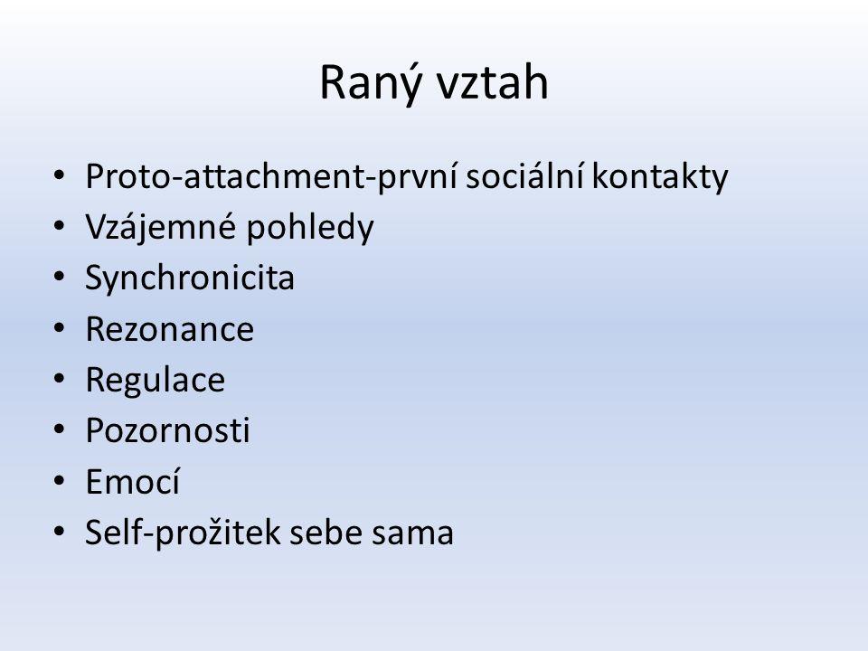 Raný vztah Proto-attachment-první sociální kontakty Vzájemné pohledy Synchronicita Rezonance Regulace Pozornosti Emocí Self-prožitek sebe sama