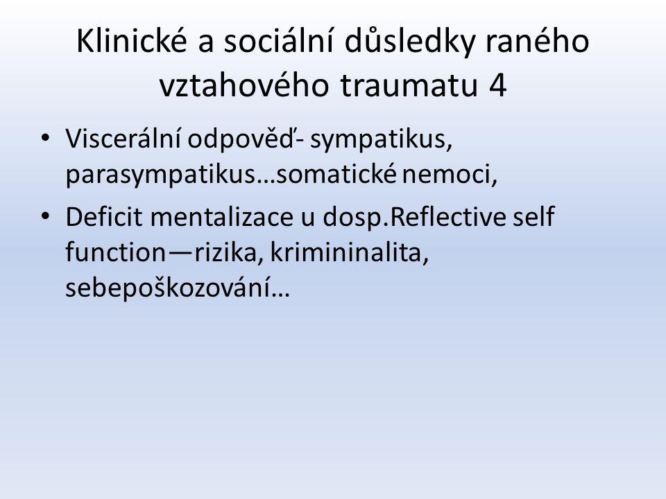 Klinické a sociální důsledky raného vztahového traumatu 4 Viscerální odpověď- sympatikus, parasympatikus…somatické nemoci, Deficit mentalizace u dosp.Reflective self function—rizika, krimininalita, sebepoškozování…