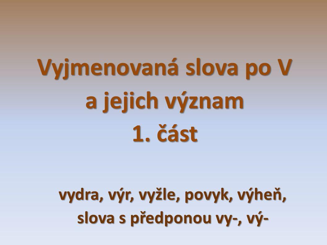 Vyjmenovaná slova po V a jejich význam 1.