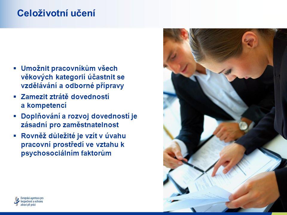 10 Celoživotní učení  Umožnit pracovníkům všech věkových kategorií účastnit se vzdělávání a odborné přípravy  Zamezit ztrátě dovedností a kompetencí  Doplňování a rozvoj dovedností je zásadní pro zaměstnatelnost  Rovněž důležité je vzít v úvahu pracovní prostředí ve vztahu k psychosociálním faktorům