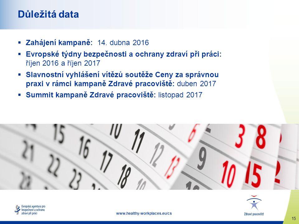 15 www.healthy-workplaces.eu/cs Důležitá data  Zahájení kampaně: 14.