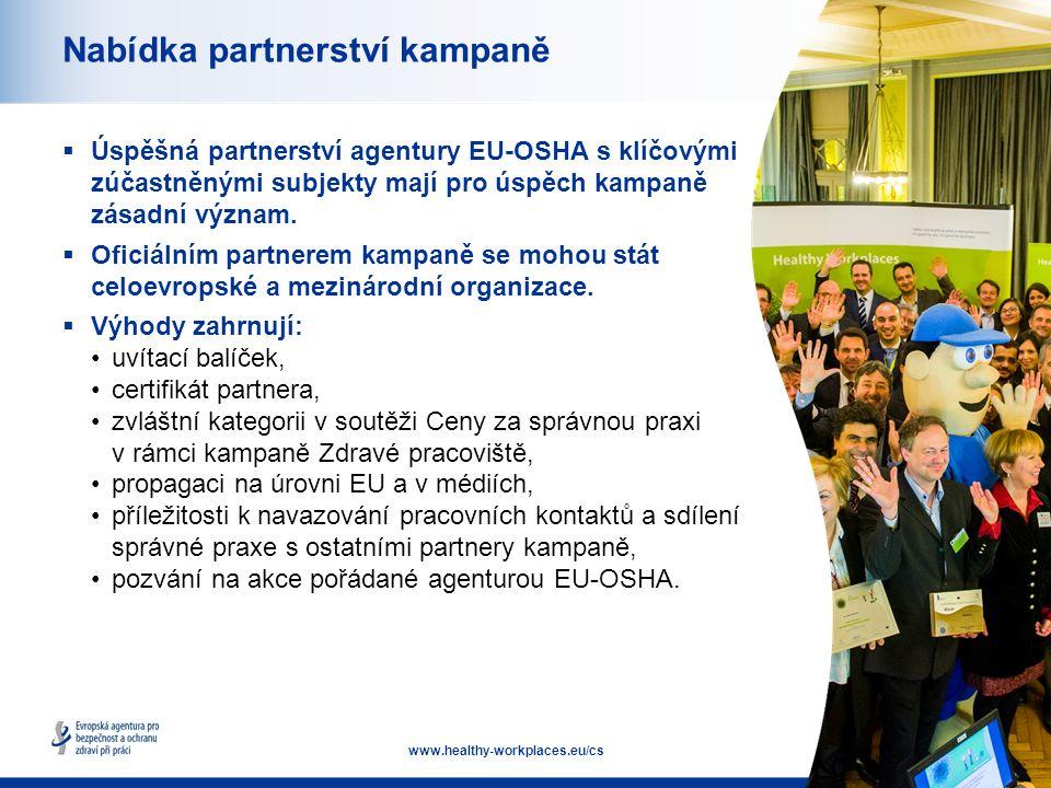16 www.healthy-workplaces.eu/cs Nabídka partnerství kampaně  Úspěšná partnerství agentury EU-OSHA s klíčovými zúčastněnými subjekty mají pro úspěch kampaně zásadní význam.