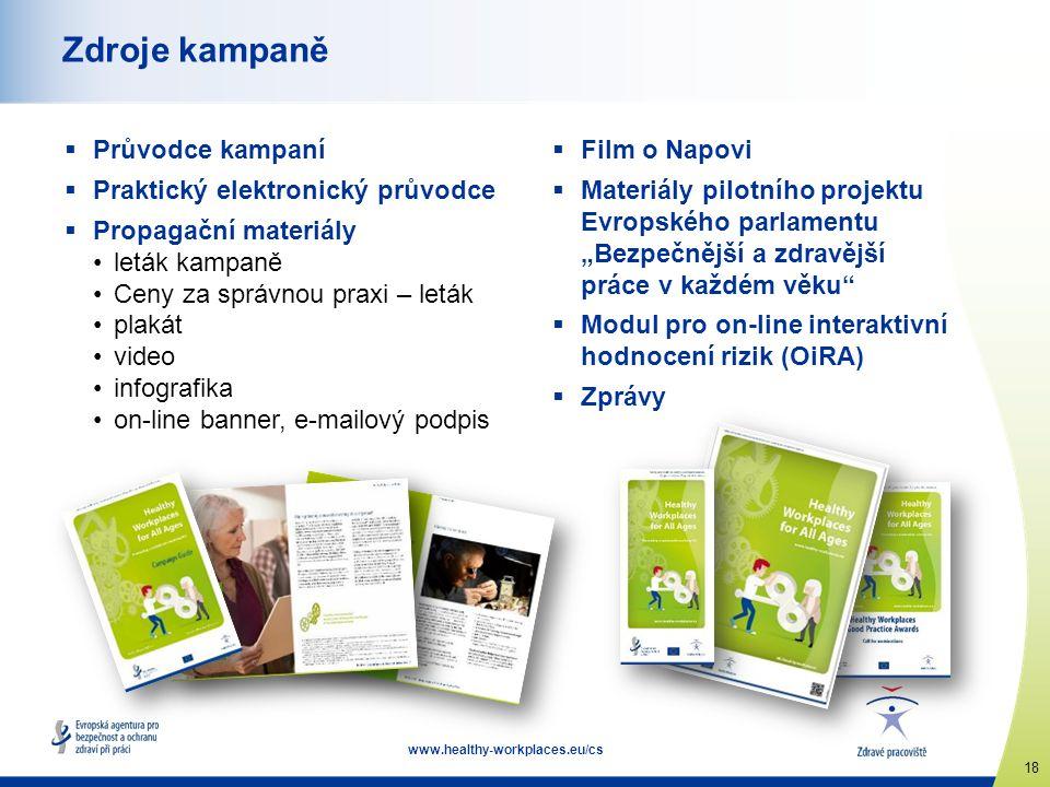 """18 www.healthy-workplaces.eu/cs Zdroje kampaně  Průvodce kampaní  Praktický elektronický průvodce  Propagační materiály leták kampaně Ceny za správnou praxi – leták plakát video infografika on-line banner, e-mailový podpis  Film o Napovi  Materiály pilotního projektu Evropského parlamentu """"Bezpečnější a zdravější práce v každém věku  Modul pro on-line interaktivní hodnocení rizik (OiRA)  Zprávy"""