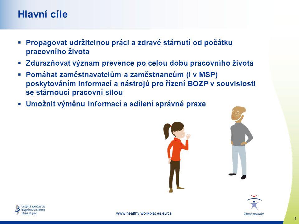 3 www.healthy-workplaces.eu/cs Hlavní cíle  Propagovat udržitelnou práci a zdravé stárnutí od počátku pracovního života  Zdůrazňovat význam prevence po celou dobu pracovního života  Pomáhat zaměstnavatelům a zaměstnancům (i v MSP) poskytováním informací a nástrojů pro řízení BOZP v souvislosti se stárnoucí pracovní silou  Umožnit výměnu informací a sdílení správné praxe