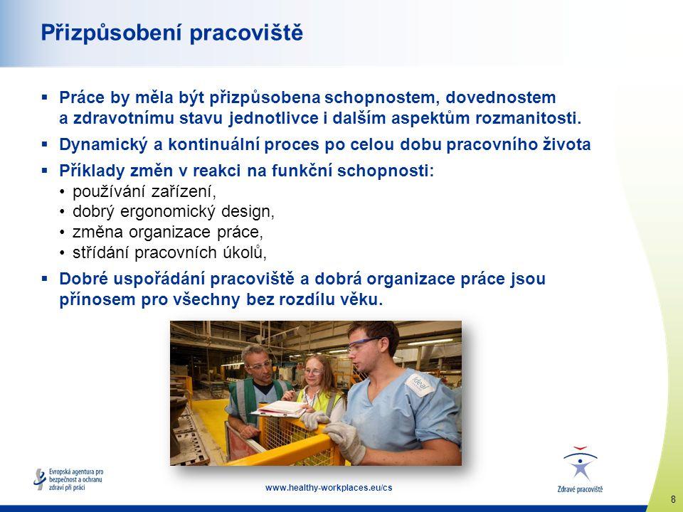8 www.healthy-workplaces.eu/cs Přizpůsobení pracoviště  Práce by měla být přizpůsobena schopnostem, dovednostem a zdravotnímu stavu jednotlivce i dalším aspektům rozmanitosti.