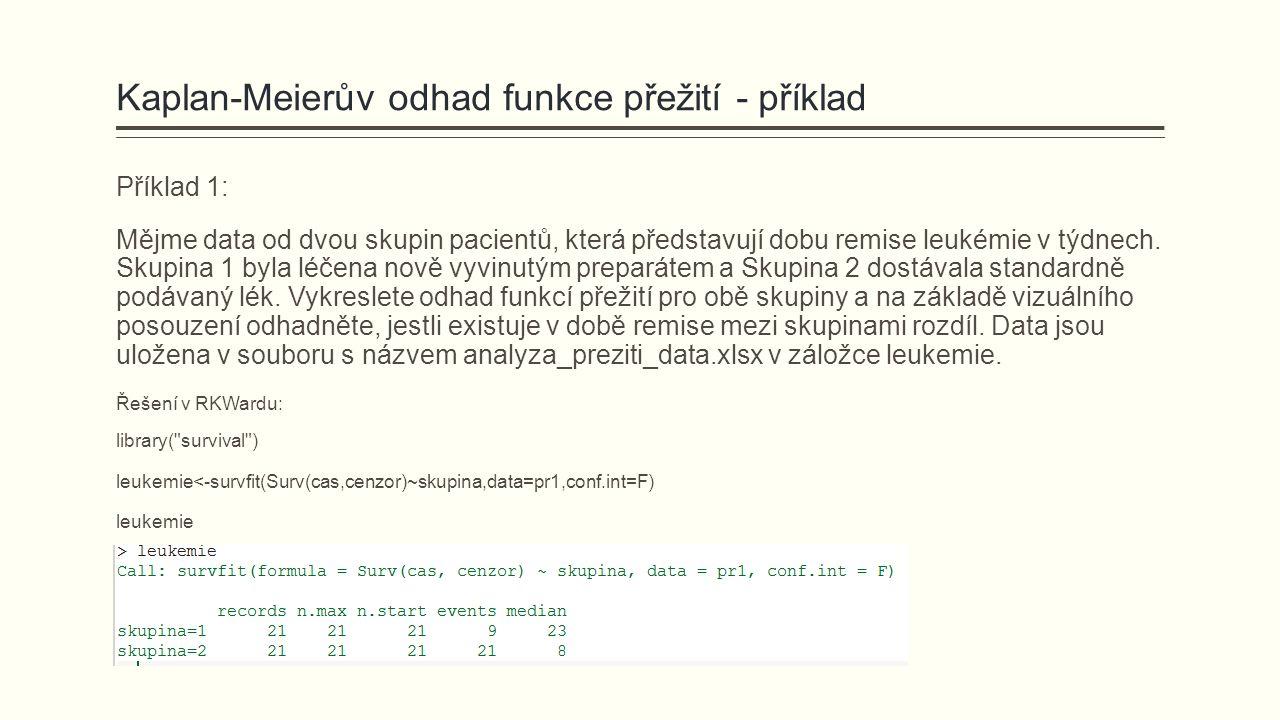 Kaplan-Meierův odhad funkce přežití - příklad Příklad 1: Mějme data od dvou skupin pacientů, která představují dobu remise leukémie v týdnech. Skupina