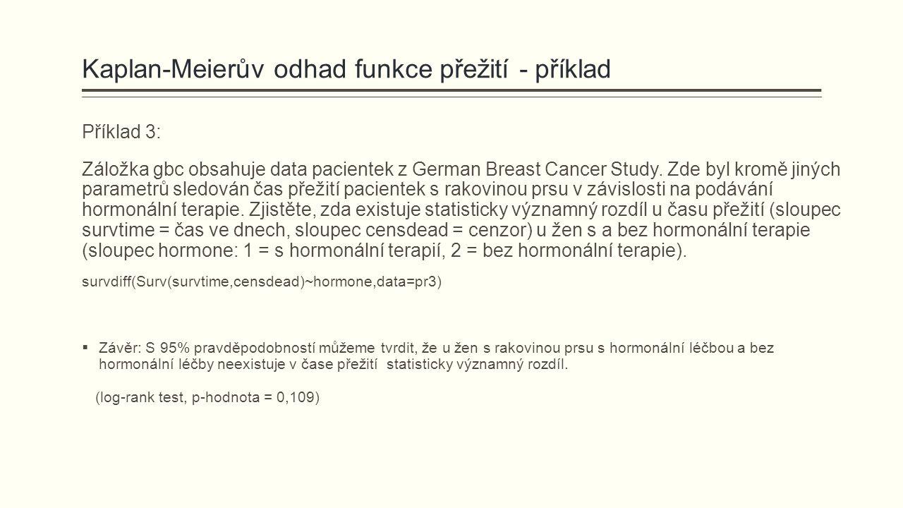Kaplan-Meierův odhad funkce přežití - příklad Příklad 3: Záložka gbc obsahuje data pacientek z German Breast Cancer Study. Zde byl kromě jiných parame