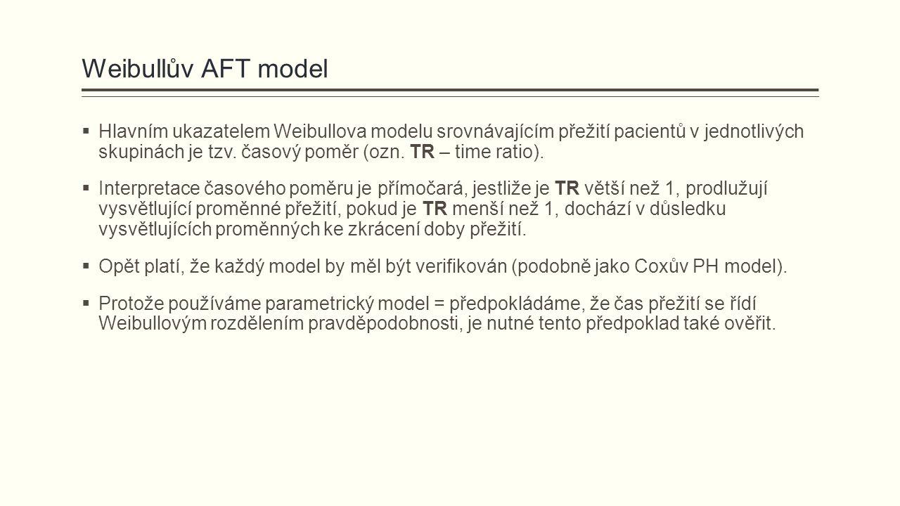 Weibullův AFT model  Hlavním ukazatelem Weibullova modelu srovnávajícím přežití pacientů v jednotlivých skupinách je tzv. časový poměr (ozn. TR – tim
