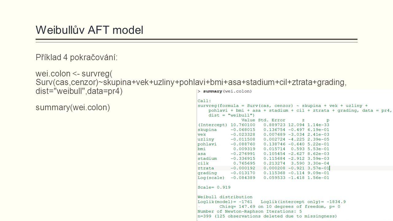 Weibullův AFT model Příklad 4 pokračování: wei.colon <- survreg( Surv(cas,cenzor)~skupina+vek+uzliny+pohlavi+bmi+asa+stadium+cil+ztrata+grading, dist=