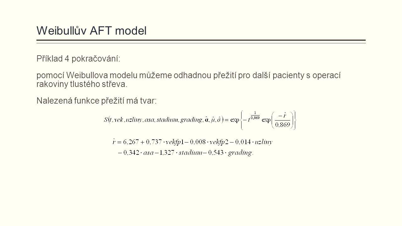 Weibullův AFT model Příklad 4 pokračování: pomocí Weibullova modelu můžeme odhadnou přežití pro další pacienty s operací rakoviny tlustého střeva.