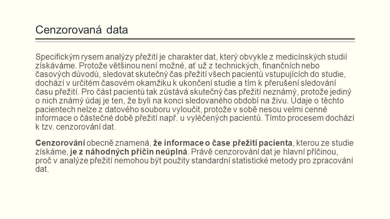 Cenzorovaná data Specifickým rysem analýzy přežití je charakter dat, který obvykle z medicínských studií získáváme. Protože většinou není možné, ať už