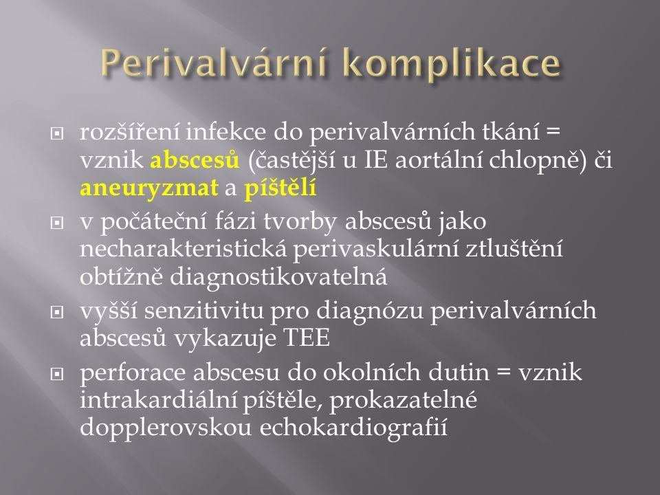  rozšíření infekce do perivalvárních tkání = vznik abscesů (častější u IE aortální chlopně) či aneuryzmat a píštělí  v počáteční fázi tvorby abscesů jako necharakteristická perivaskulární ztluštění obtížně diagnostikovatelná  vyšší senzitivitu pro diagnózu perivalvárních abscesů vykazuje TEE  perforace abscesu do okolních dutin = vznik intrakardiální píštěle, prokazatelné dopplerovskou echokardiografií