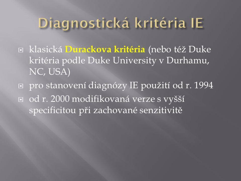  klasická Durackova kritéria (nebo též Duke kritéria podle Duke University v Durhamu, NC, USA)  pro stanovení diagnózy IE použití od r. 1994  od r.