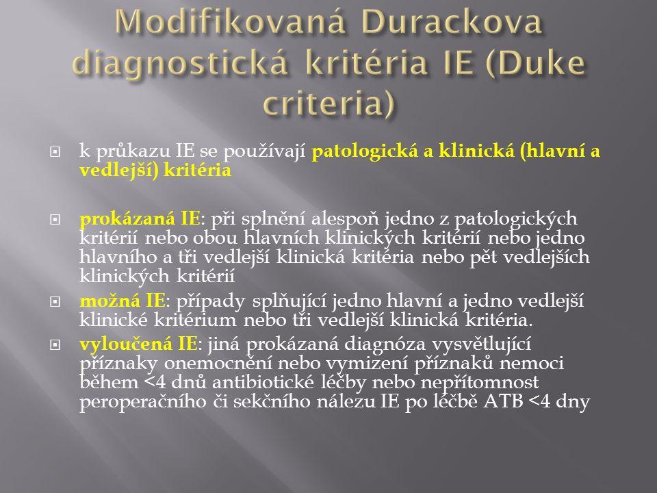  k průkazu IE se používají patologická a klinická (hlavní a vedlejší) kritéria  prokázaná IE : při splnění alespoň jedno z patologických kritérií ne