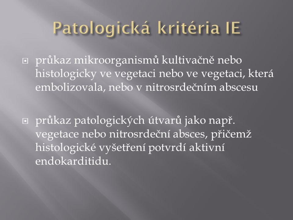  průkaz mikroorganismů kultivačně nebo histologicky ve vegetaci nebo ve vegetaci, která embolizovala, nebo v nitrosrdečním abscesu  průkaz patologických útvarů jako např.