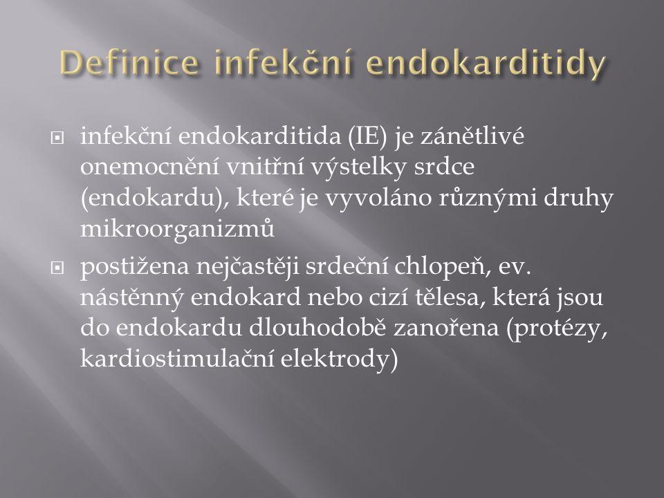  endokarditida nativních chlopní (a nástěnného endokardu) = NVE (native valve endocarditis)  endokarditida chlopenních protéz (nebo nasedající na jiné umělé materiály) = PVE (prosthetic valve endocarditis) - časná PVE (do 1 roku po operaci srdce) a pozdní PVE  samostatná skupina: endokarditida postihující intravenózní narkomany  dle lokalizace : mitrální, aortální, nástěnná  dle etiologie (streptokoková, stafylokoková, kultivačně negativní apod.)  podle podmínek vzniku : IE získaná v komunitě a IE nozokomiální