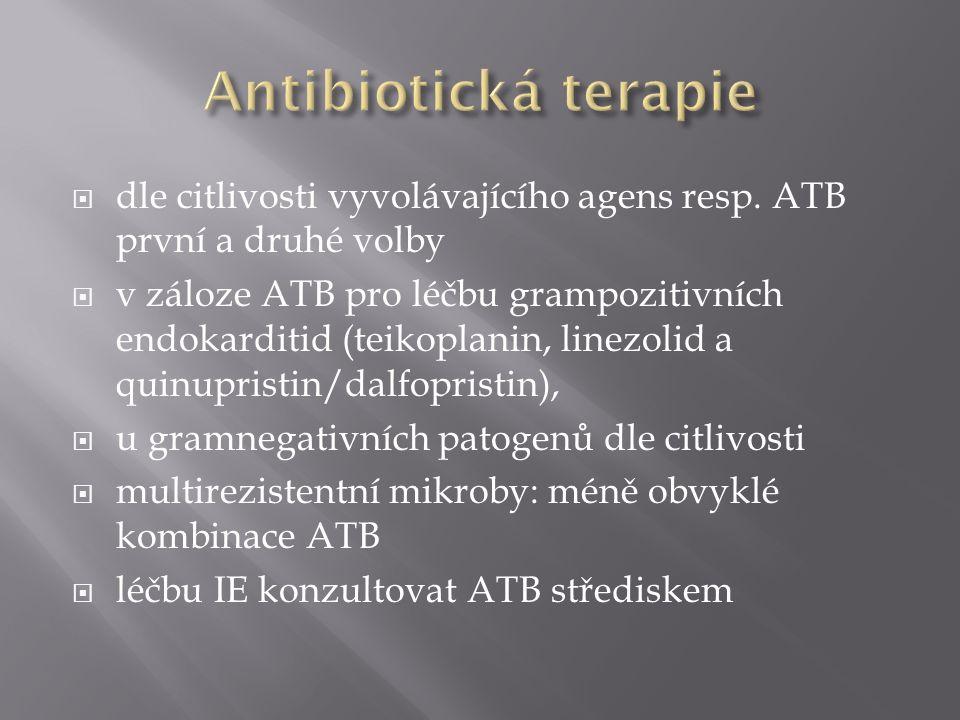  dle citlivosti vyvolávajícího agens resp. ATB první a druhé volby  v záloze ATB pro léčbu grampozitivních endokarditid (teikoplanin, linezolid a qu