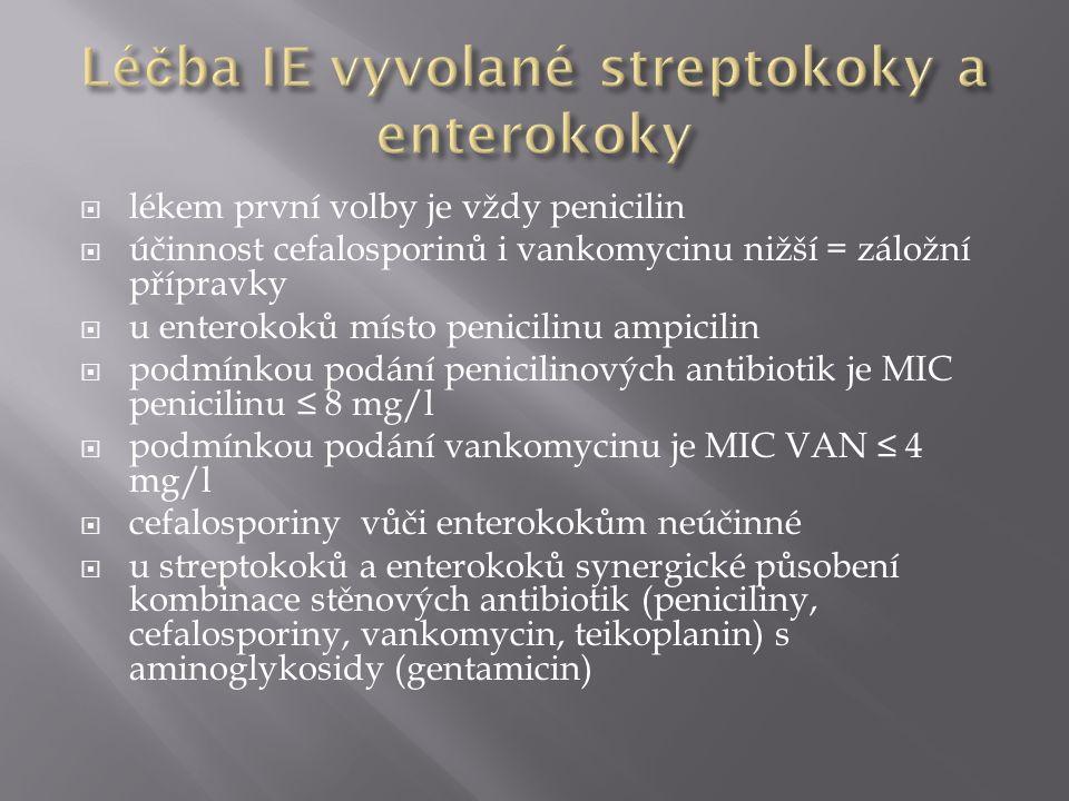  lékem první volby je vždy penicilin  účinnost cefalosporinů i vankomycinu nižší = záložní přípravky  u enterokoků místo penicilinu ampicilin  podmínkou podání penicilinových antibiotik je MIC penicilinu ≤ 8 mg/l  podmínkou podání vankomycinu je MIC VAN ≤ 4 mg/l  cefalosporiny vůči enterokokům neúčinné  u streptokoků a enterokoků synergické působení kombinace stěnových antibiotik (peniciliny, cefalosporiny, vankomycin, teikoplanin) s aminoglykosidy (gentamicin)