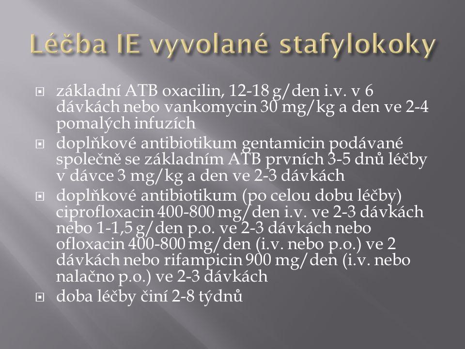  základní ATB oxacilin, 12-18 g/den i.v.