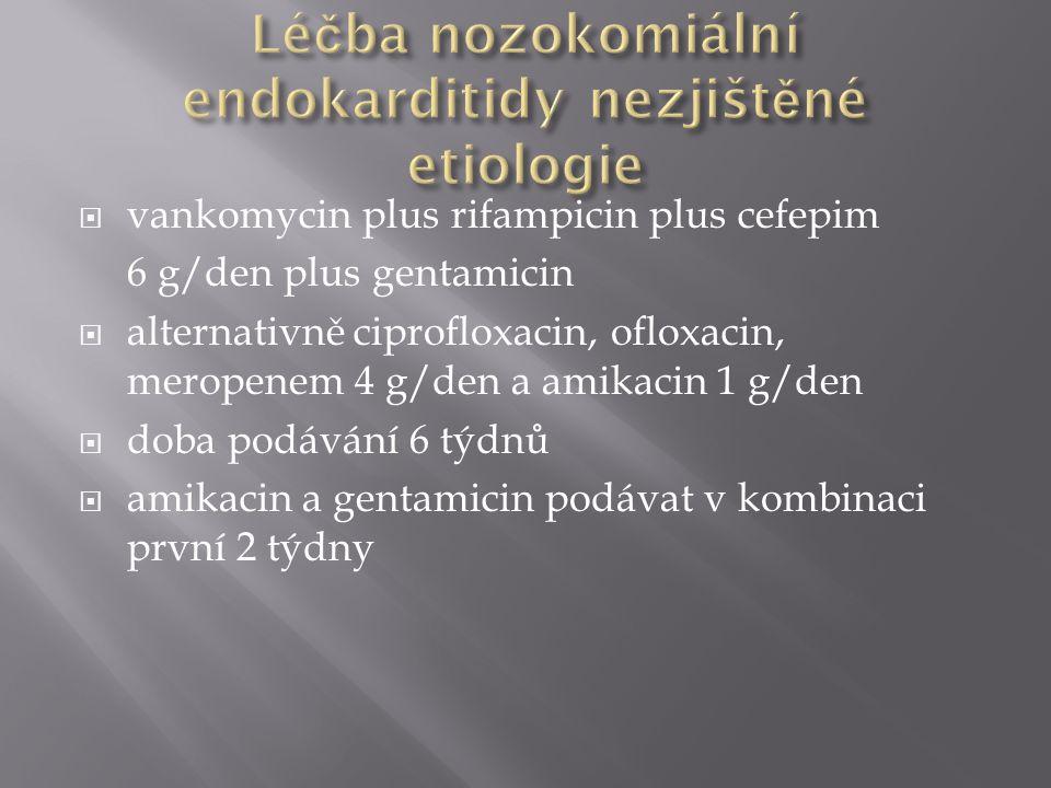  vankomycin plus rifampicin plus cefepim 6 g/den plus gentamicin  alternativně ciprofloxacin, ofloxacin, meropenem 4 g/den a amikacin 1 g/den  doba