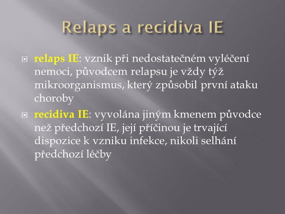  relaps IE : vznik při nedostatečném vyléčení nemoci, původcem relapsu je vždy týž mikroorganismus, který způsobil první ataku choroby  recidiva IE : vyvolána jiným kmenem původce než předchozí IE, její příčinou je trvající dispozice k vzniku infekce, nikoli selhání předchozí léčby