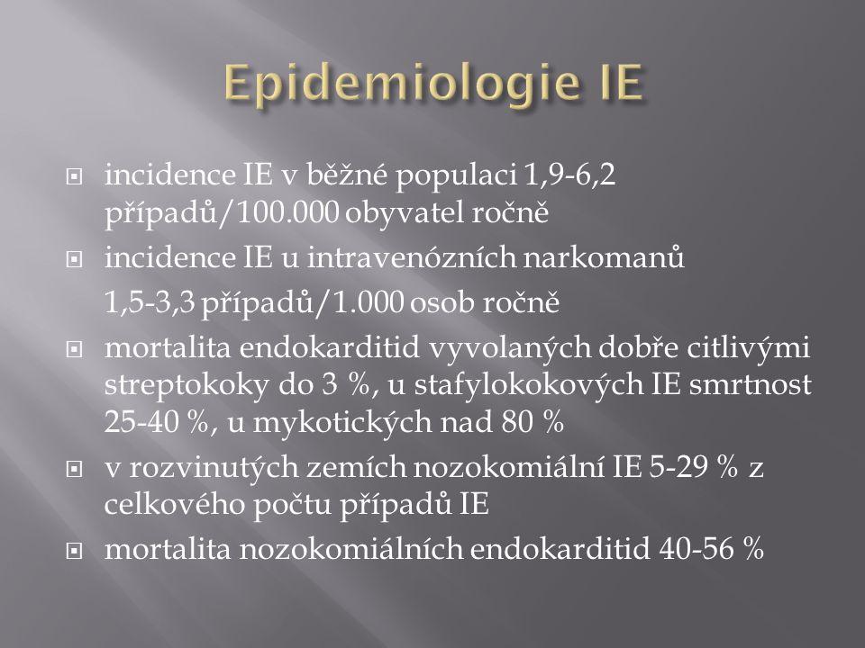  incidence IE v běžné populaci 1,9-6,2 případů/100.000 obyvatel ročně  incidence IE u intravenózních narkomanů 1,5-3,3 případů/1.000 osob ročně  mortalita endokarditid vyvolaných dobře citlivými streptokoky do 3 %, u stafylokokových IE smrtnost 25-40 %, u mykotických nad 80 %  v rozvinutých zemích nozokomiální IE 5-29 % z celkového počtu případů IE  mortalita nozokomiálních endokarditid 40-56 %