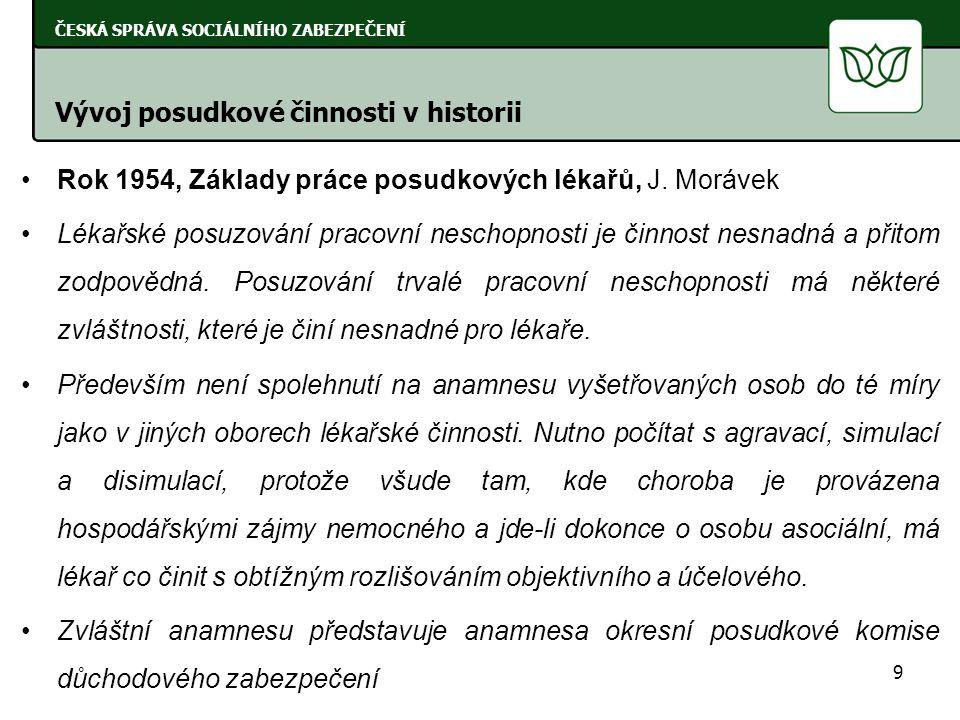 Rok 1959, Organisace posudkové činnosti, J.