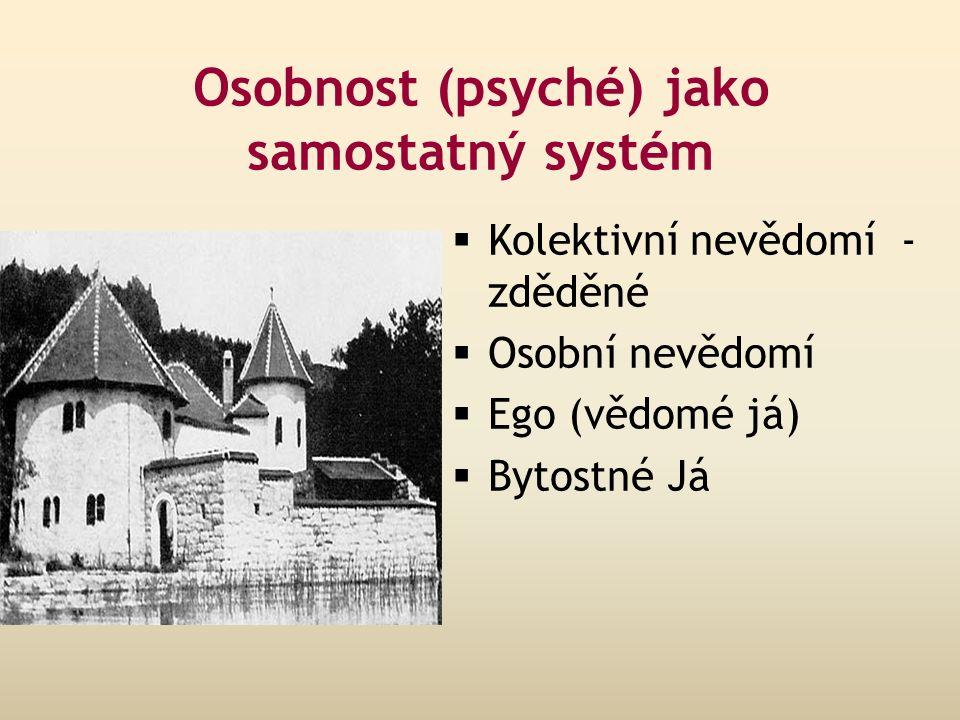 Osobnost (psyché) jako samostatný systém  Kolektivní nevědomí - zděděné  Osobní nevědomí  Ego (vědomé já)  Bytostné Já